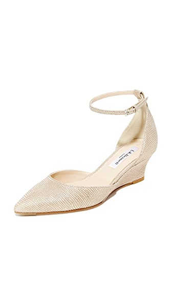 L.K. Bennett Alex Metallic Wedges - Platinum Blush