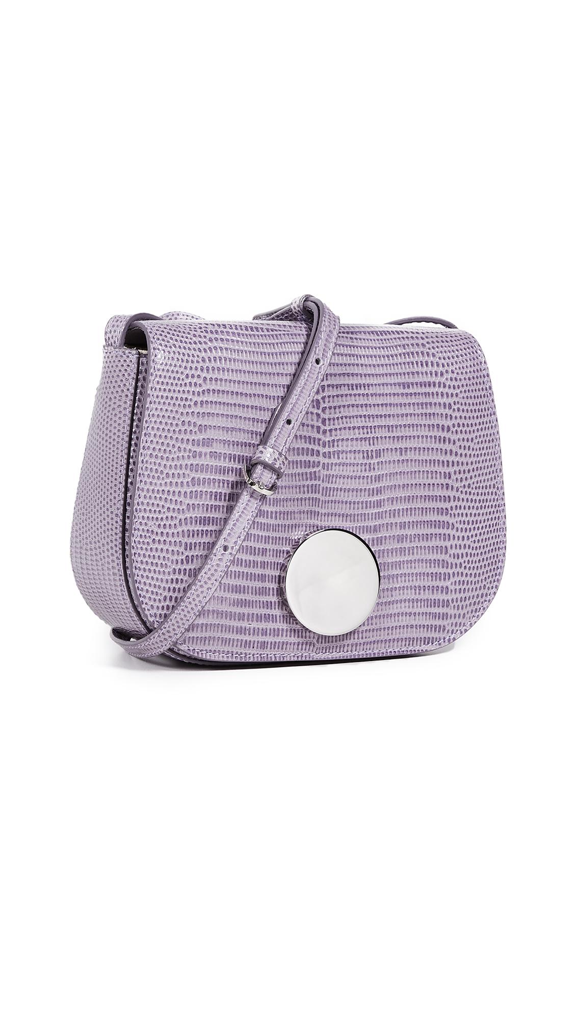 LITTLE LIFFNER Mini Saddle Bag in Lilac Lizard