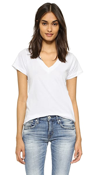 LNA Short Sleeve V Neck Tee - White