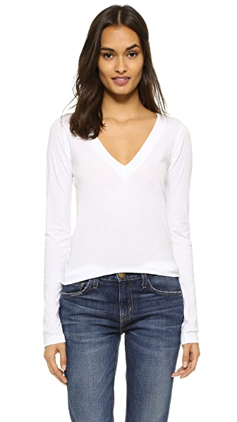 LNA Long Sleeve Deep V Top - White