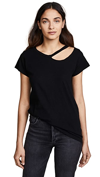 LNA Ripped Neck Tee In Black