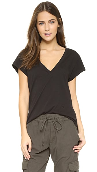 LNA Carmen V Neck Tee In Black