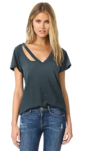 LNA Distressed Fallon V Neck Tee - Distressed Black