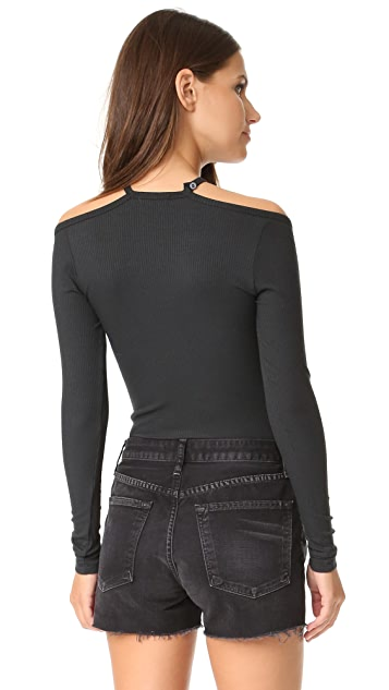 LNA Cutout Bib Long Sleeve Top