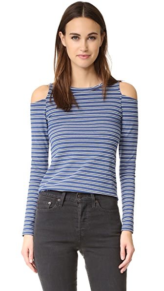 LNA Striped Ashley Jane Long Sleeve Top - Natural Stripe