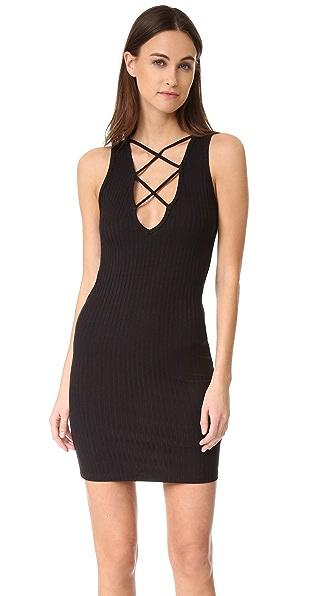 LNA Lace Up V Dress - Black