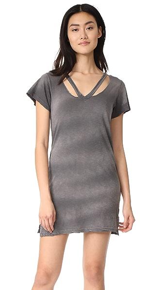LNA Double Fallon Tee Dress - Charcoal Potassium