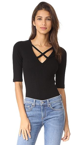 LNA Camino Bodysuit In Black