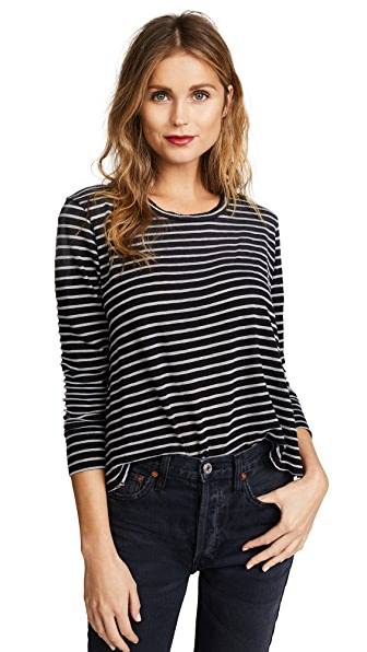 LNA Faded Stripe Long Sleeve Tee In Black/White Stripe