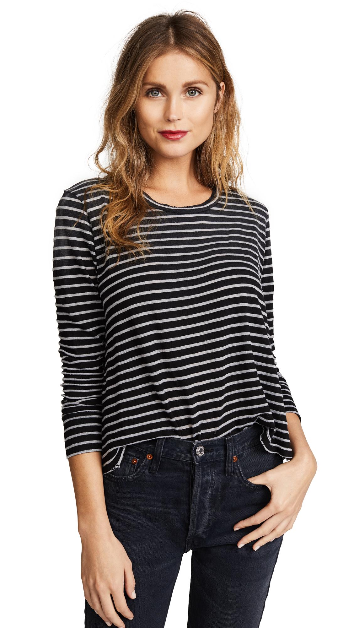 LNA Faded Stripe Long Sleeve Tee In Black/White Stripe