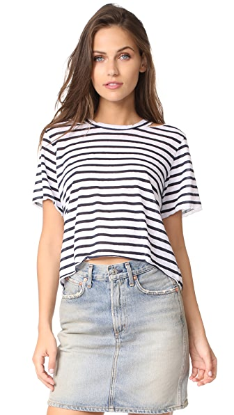 LNA Stripe Cutout Crop Tee - White/Navy Stripe