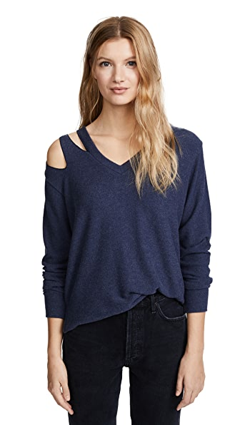 LNA Brushed Hawk Pullover In Heather Navy