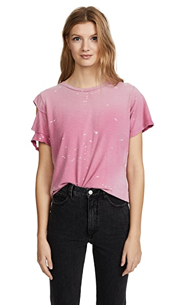 LNA Distressed Double Cut Sleeve Tee In Pink Mauve
