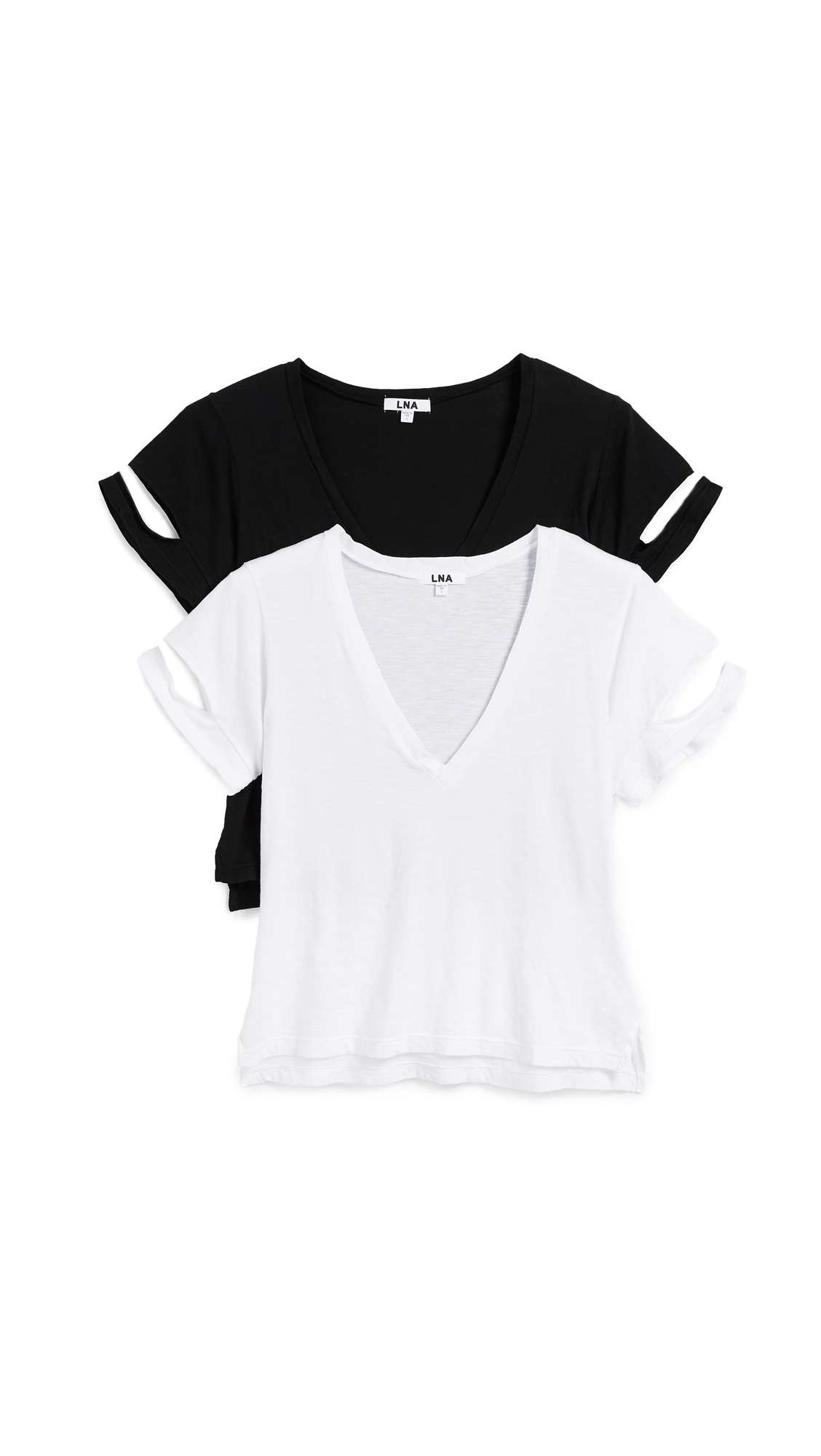 LNA Slyvan V Neck Tee 2 Pack In Black/White