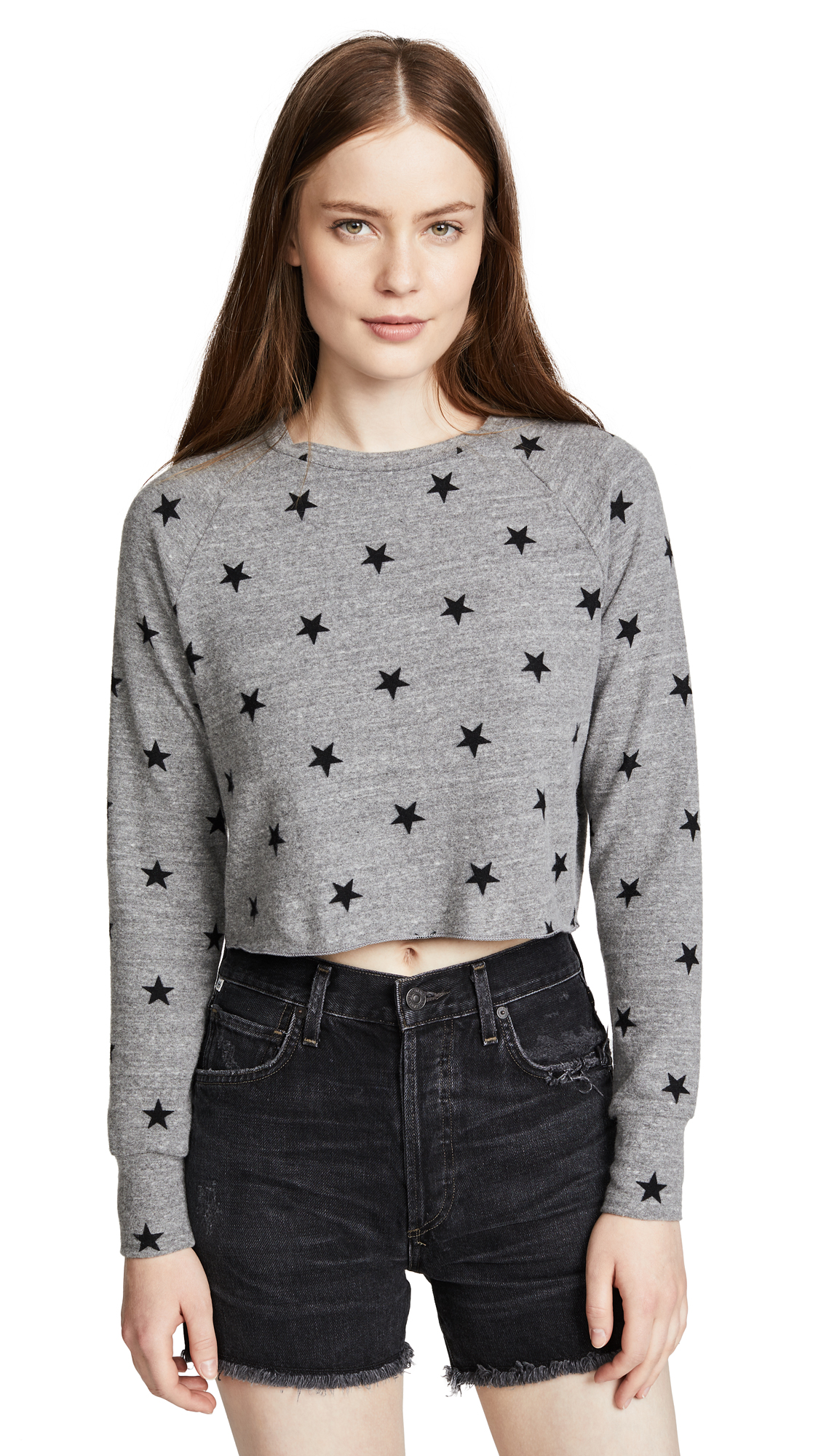 LNA Brushed Roos Pullover In Heather Grey Star