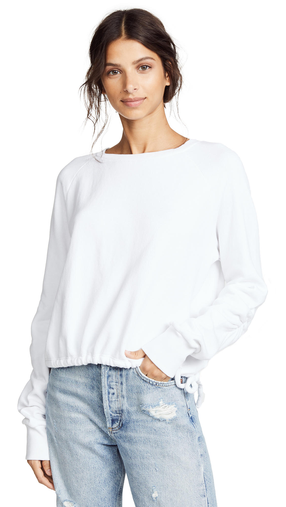 LNA Cinched Sweatshirt In White