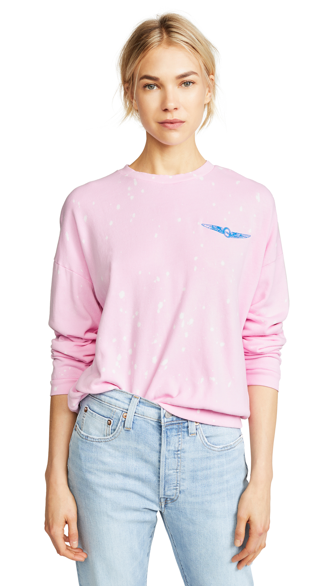LNA Aviator Sweatshirt In Neon Pink Galaxy