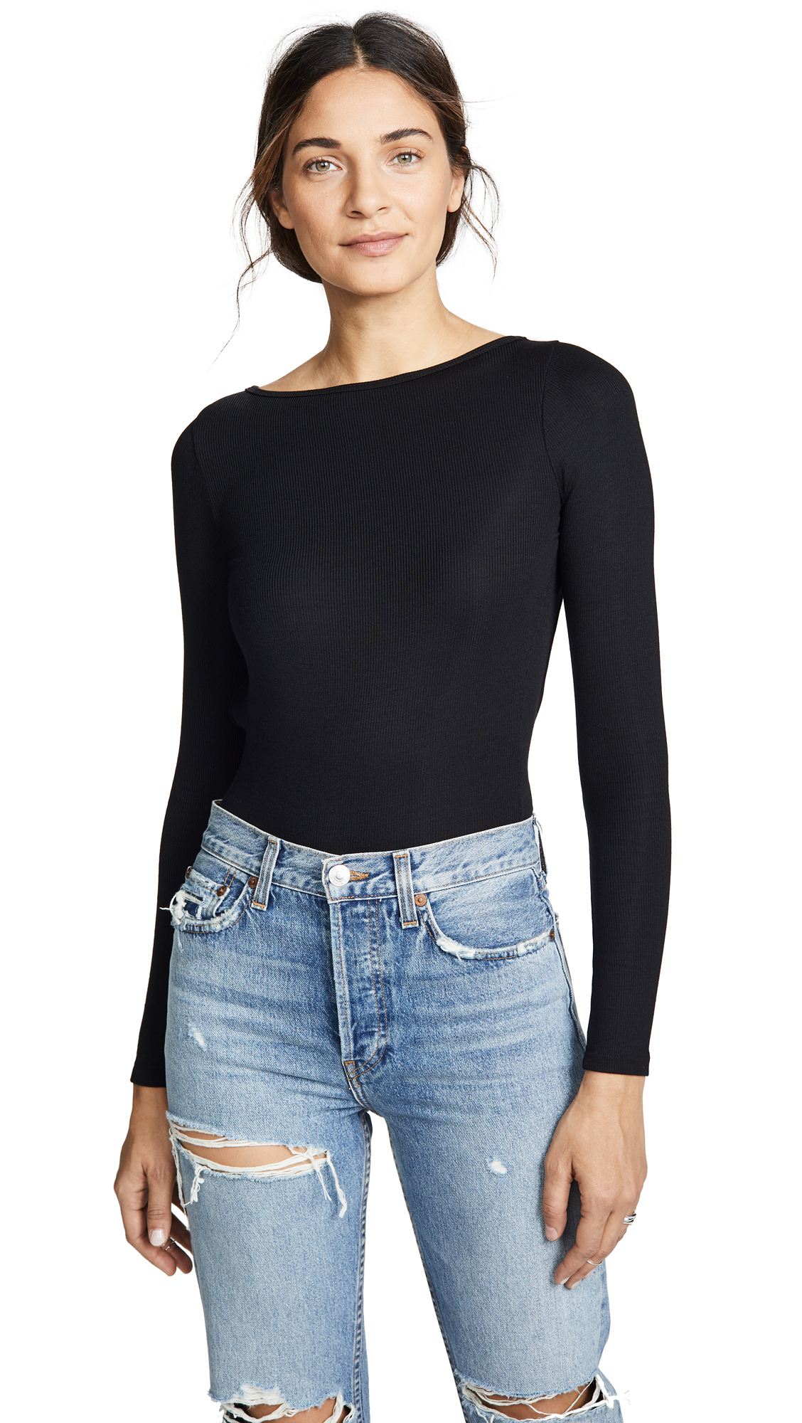 LNA Tie Back Bodysuit In Black