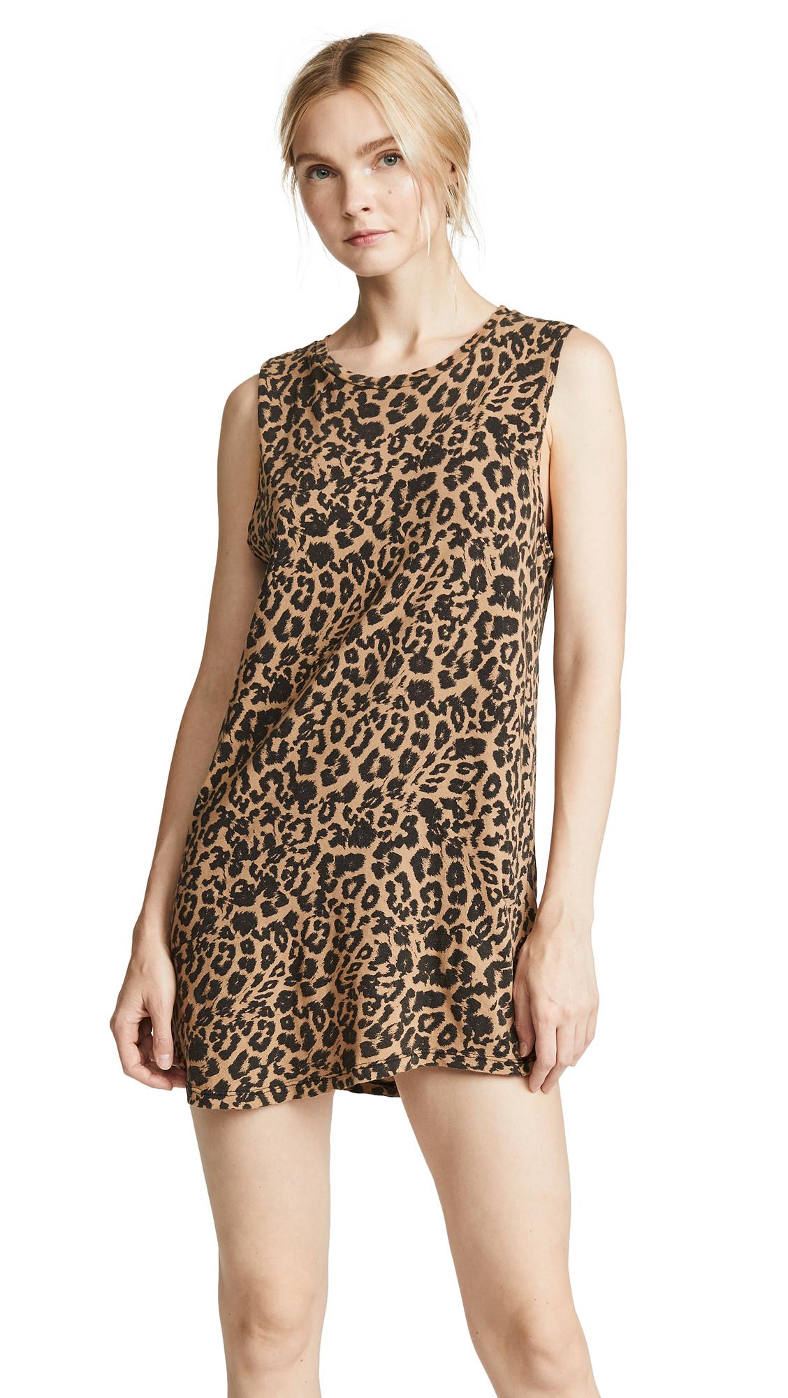 LNA Leopard Muscle Tank Dress In Leopard