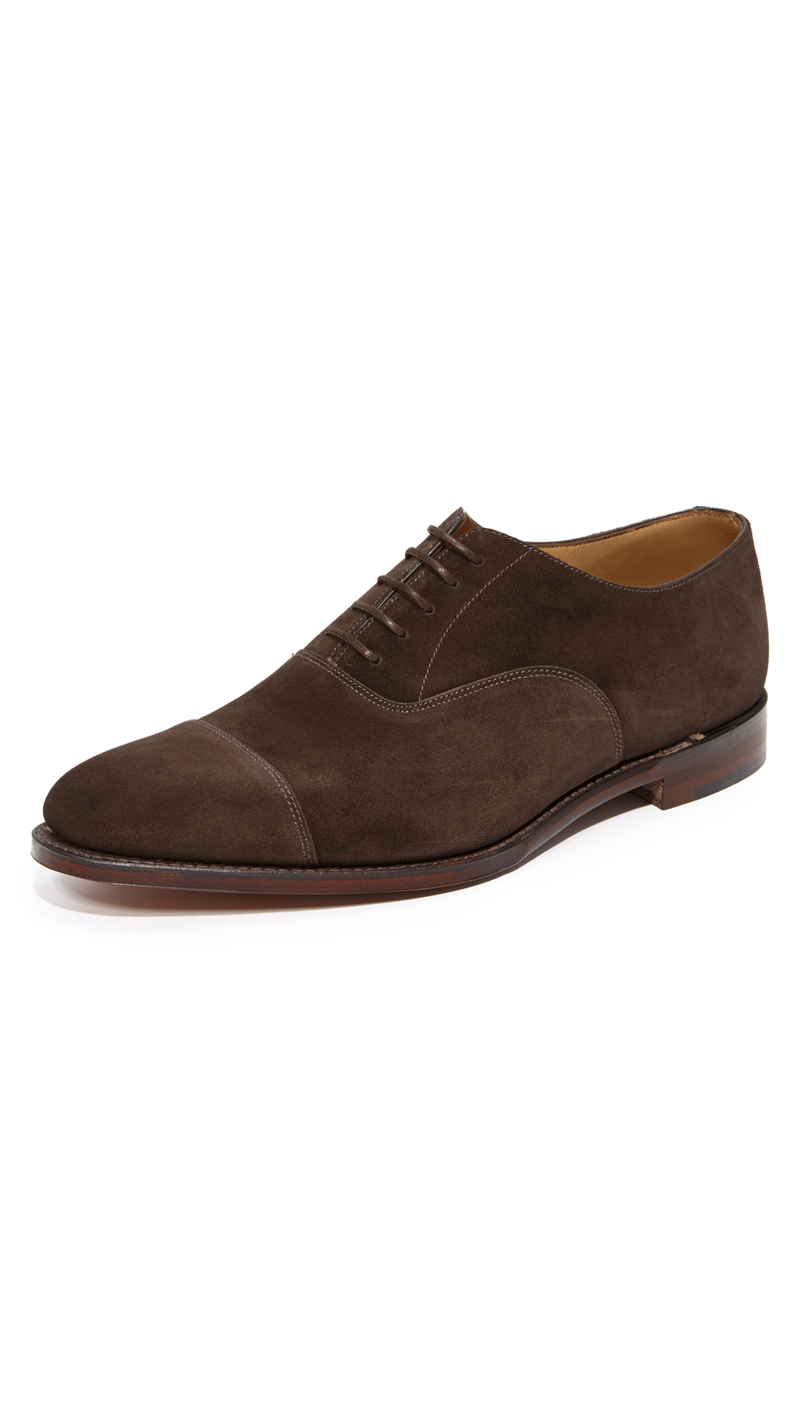 LOAKE 1880 Aldwych Cap Toe Oxfords in Dark Brown