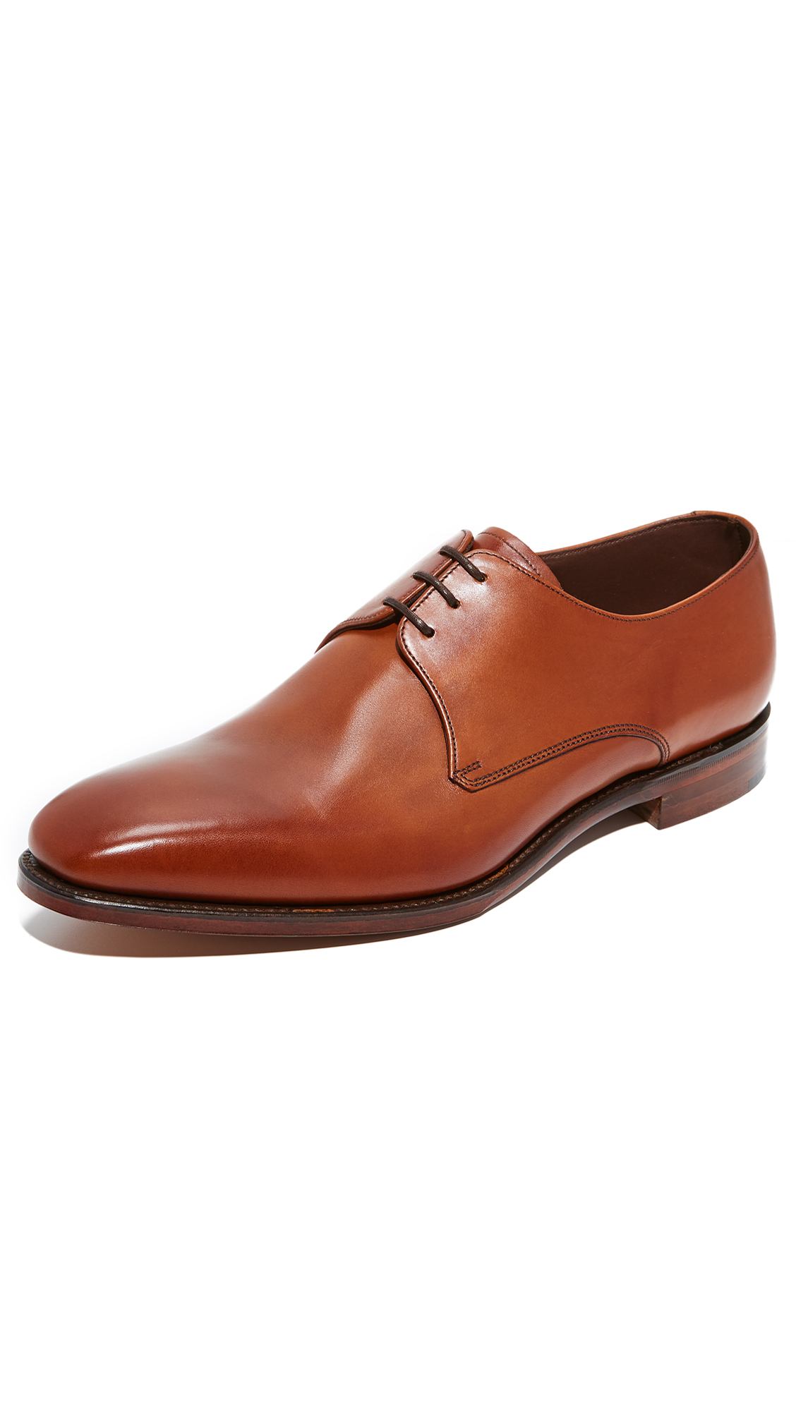 LOAKE 1880 Cornwall Plain Toe Derbys in Mahogany