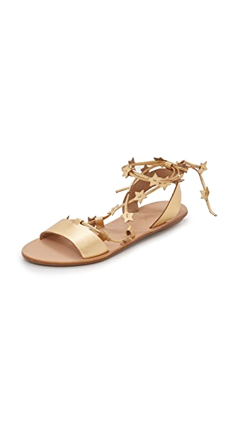 Loeffler Randall Starla Flat Sandals In Pale Gold