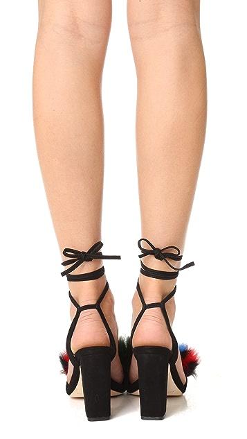 Loeffler Randall Nicolette Fur Sandals