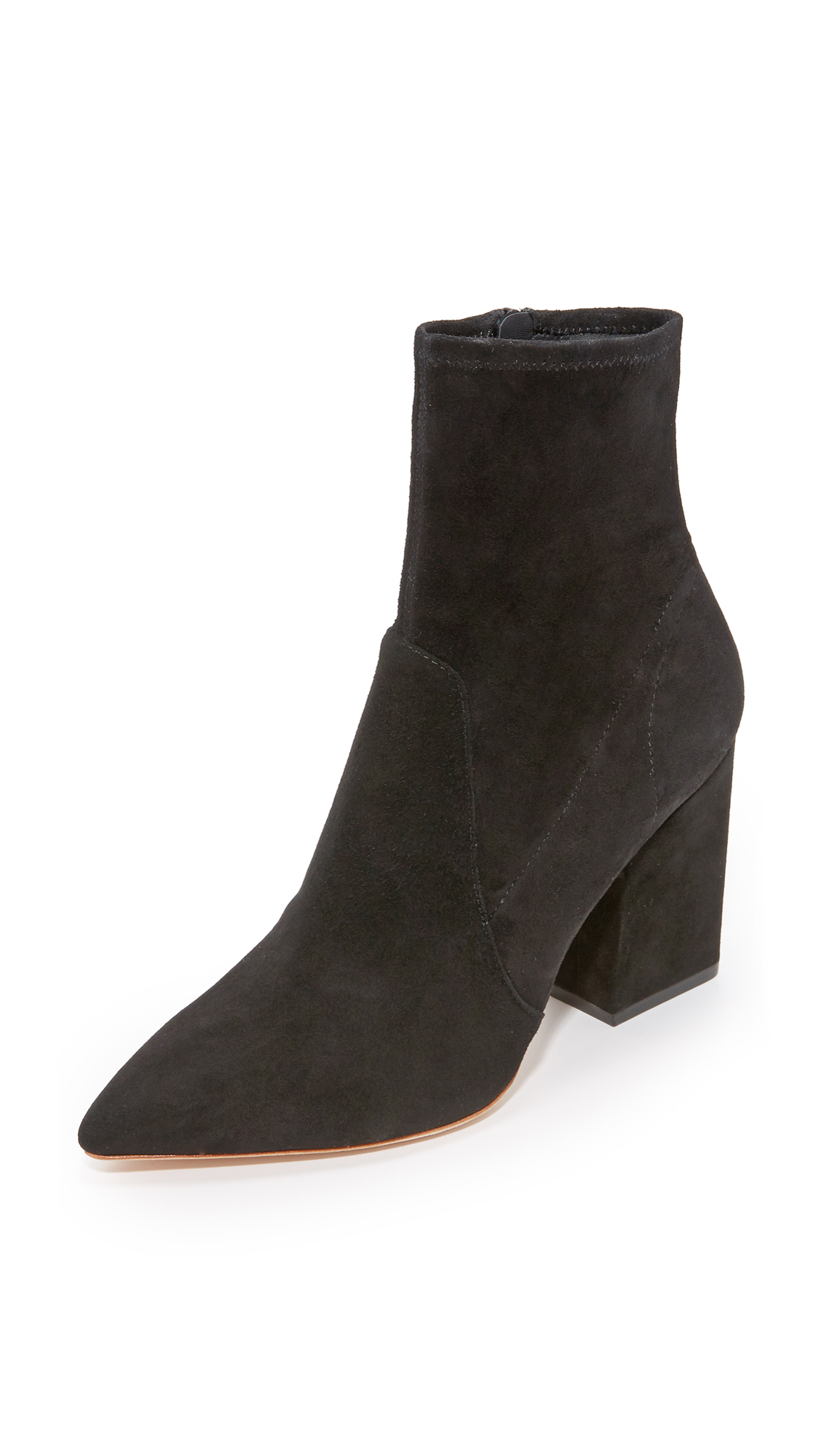 Pointed toe Loeffler Randall booties in luxe, stretch suede. Exposed side zip. Covered block heel with rubber patch. Leather sole. Leather: Cowhide. Imported, China. This item cannot be gift boxed. Measurements Heel: 3in / 75mm. Available sizes: 5,5.5,8,8.5,9,9.5,10,10.5,11