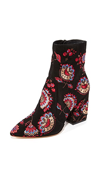 Loeffler Randall Isla Embroidered Booties - Black Floral