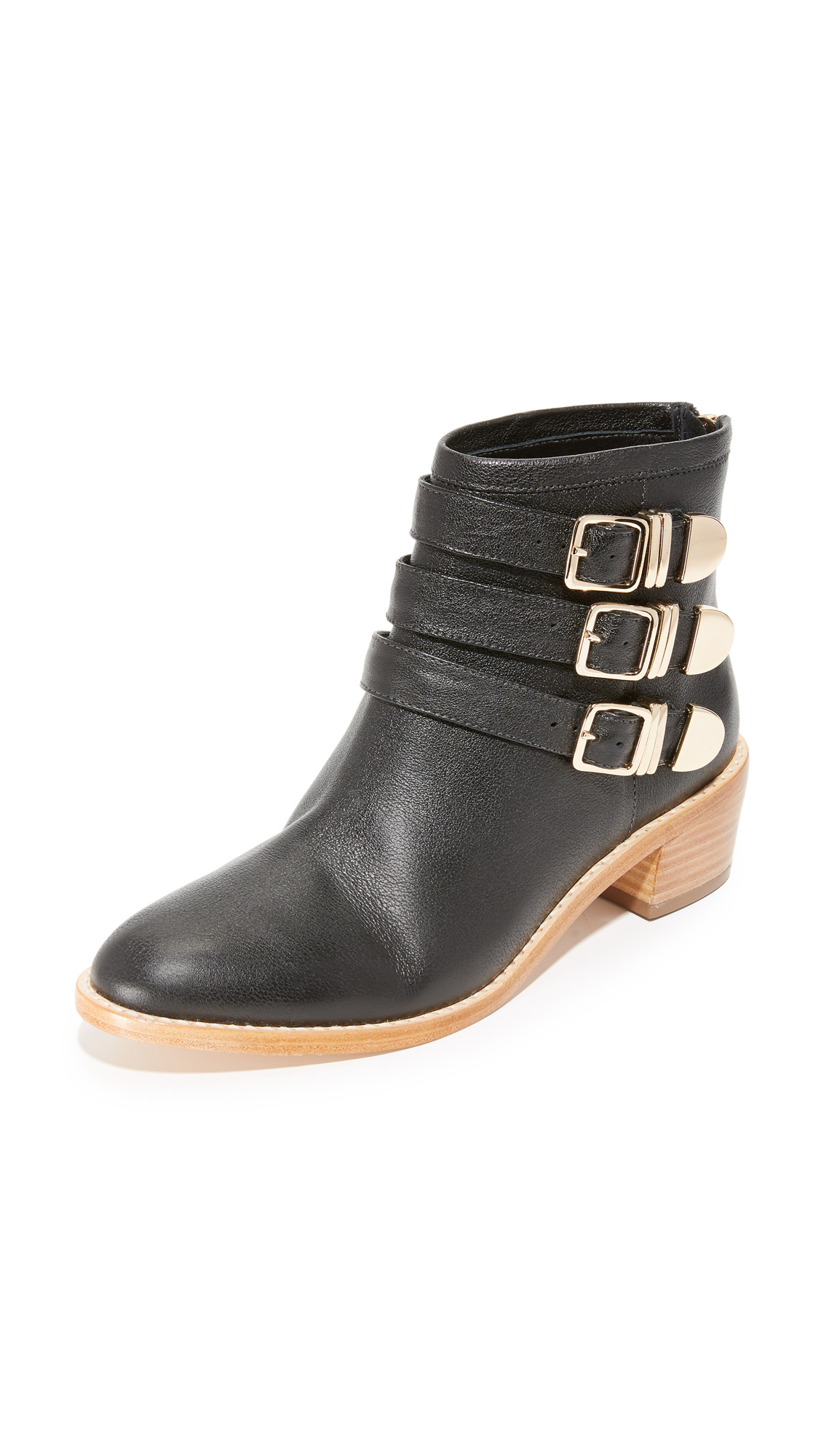 Loeffler Randall Fenton Buckle Booties - Black/Gold