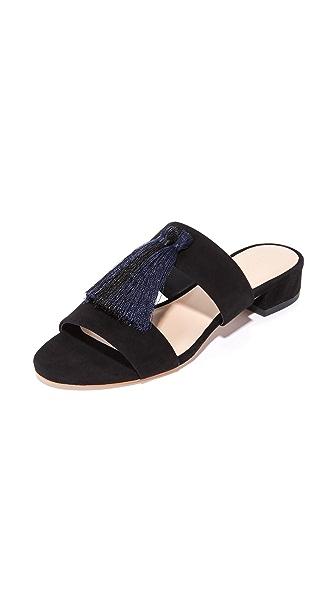Loeffler Randall Rubie Tassel Sandals - Black/Eclipse