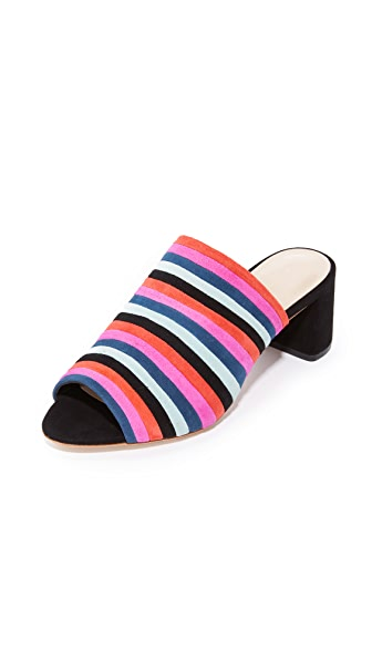 Loeffler Randall Kenna Mules In Black Multi Stripe