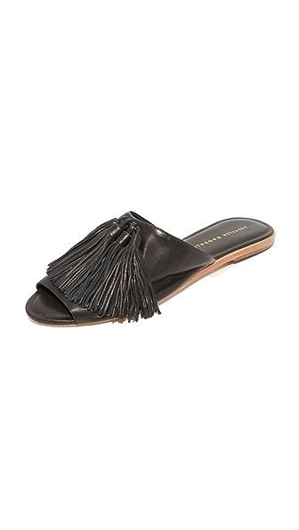 Loeffler Randall Kiki Tassel Slides - Black/Black