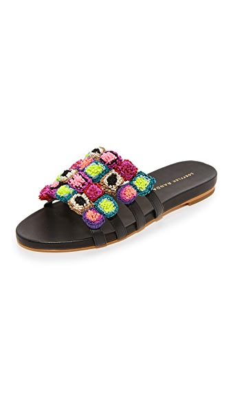 Loeffler Randall Sal Slide Sandals - Black/Multi