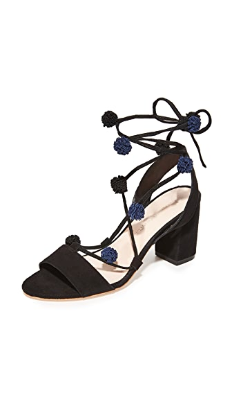Loeffler Randall Bea Wrap Sandals - Black/Black Eclipse
