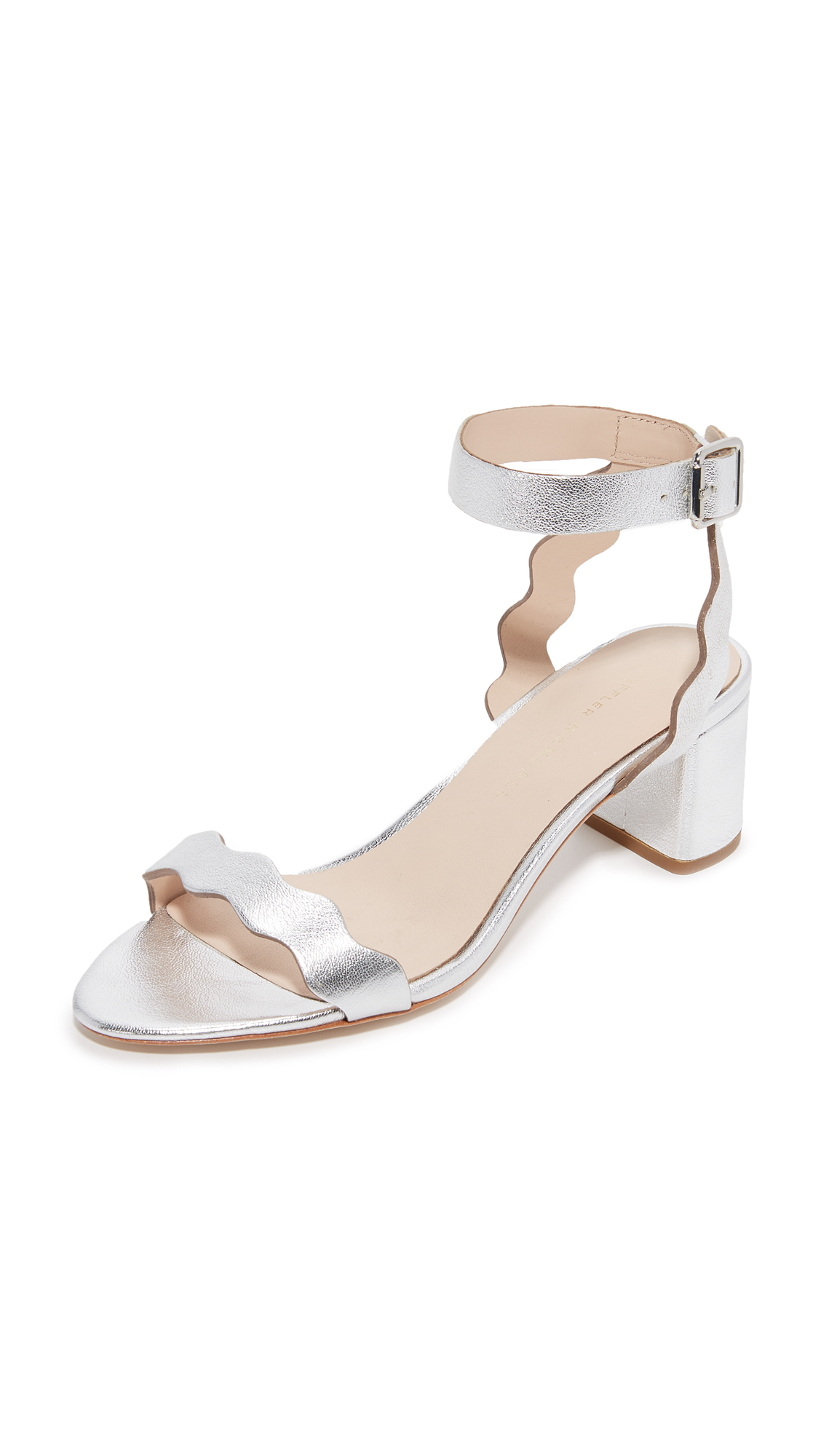 27bc223e37 LOEFFLER RANDALL Emi Scalloped Metallic Leather Block Heel Sandals, Silver