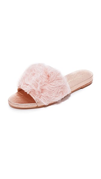 Loeffler Randall Domino Shearling Slides - Pale Pink/Rose Gold