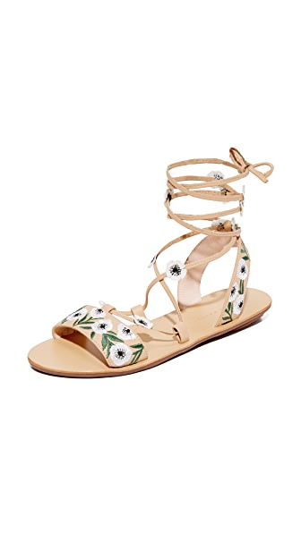 Loeffler Randall Fluera Wrap Sandals In Wheat/Anemone