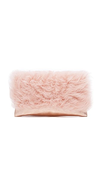 Loeffler Randall Shearling Tab Clutch - Pale Pink/Rose Gold