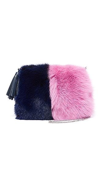 Loeffler Randall Fur Tassel Pouch - Eclipse/Hot Pink