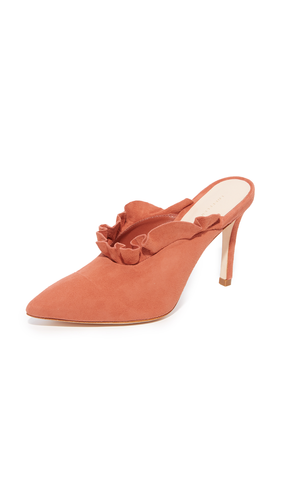 Loeffler Randall Langley Ruffle Mules - Dusty Rose