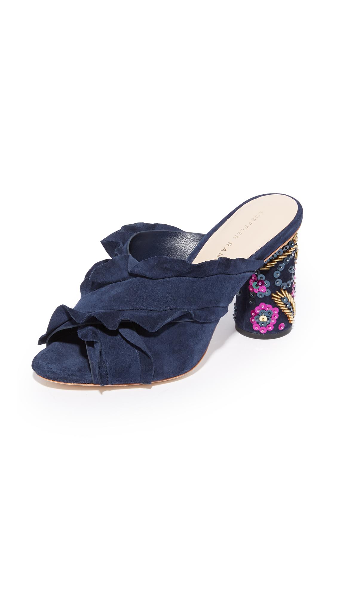 Loeffler Randall Kaya Ruffle Floral Heeled Sandals - Eclipse/Multi