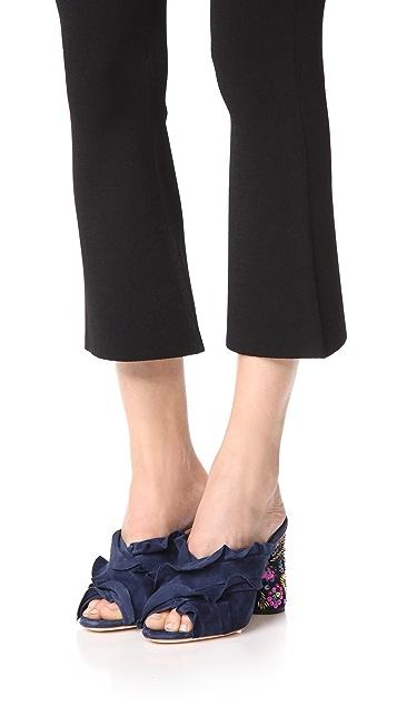 Loeffler Randall Kaya Ruffle Floral Heeled Sandals