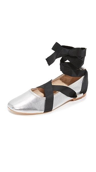 Loeffler Randall Wrap Ballet Flats - Silver/Black