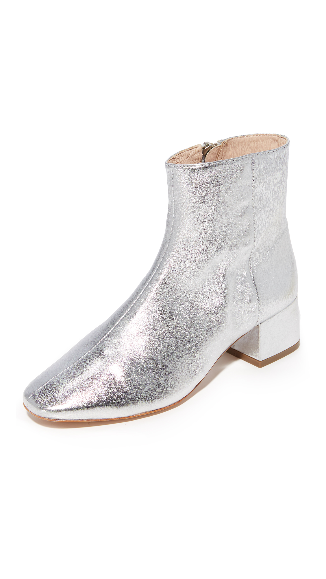 Loeffler Randall Carter Low Heel Ankle Booties - Silver