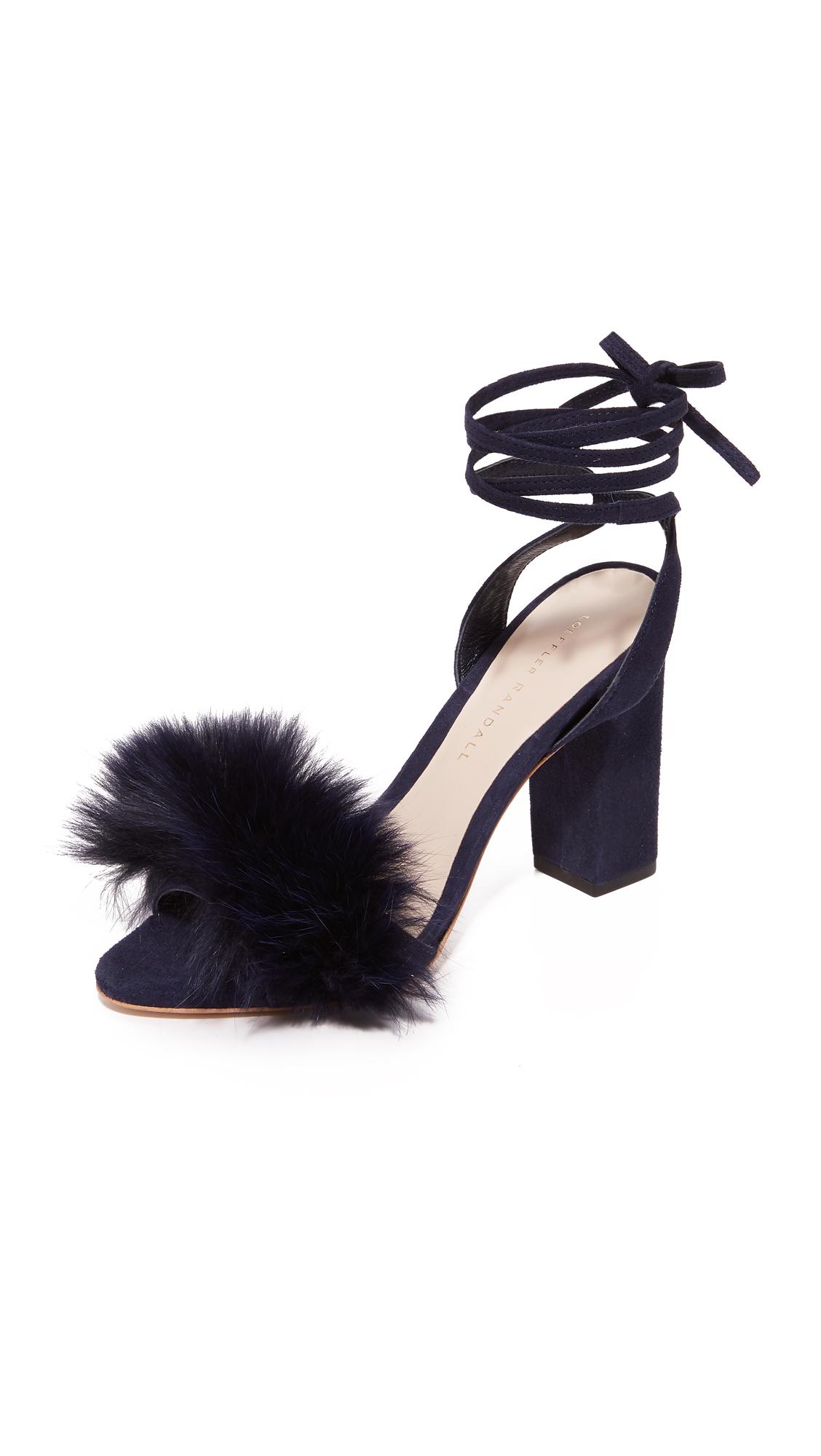 Loeffler Randall Nicolette Strappy Fur Sandals - Eclipse/Eclipse