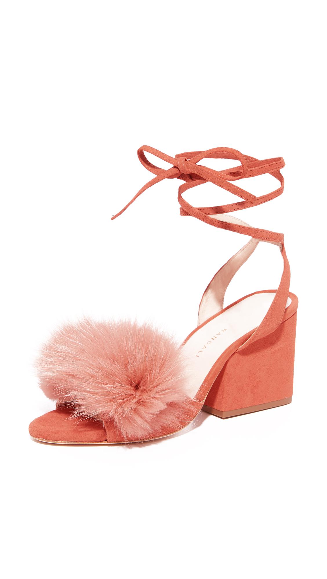 Loeffler Randall Nicky Block Heel Strappy Fur Sandals - Dusty Rose/Dusty Rose