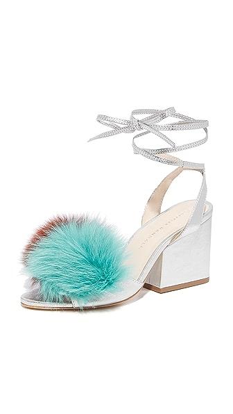 Loeffler Randall Nicky Block Heel Strappy Fur Sandals In Multi/Silver