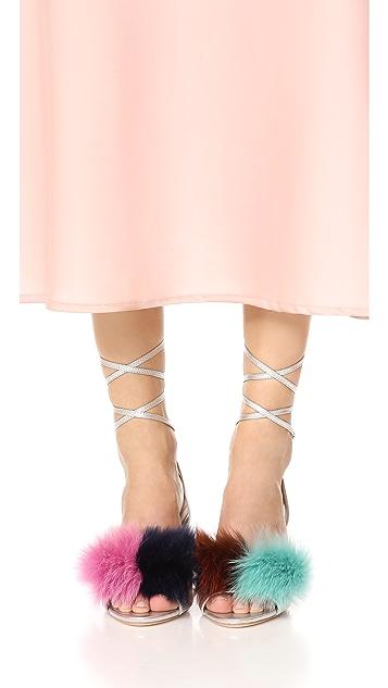 Loeffler Randall Nicky Block Heel Strappy Fur Sandals
