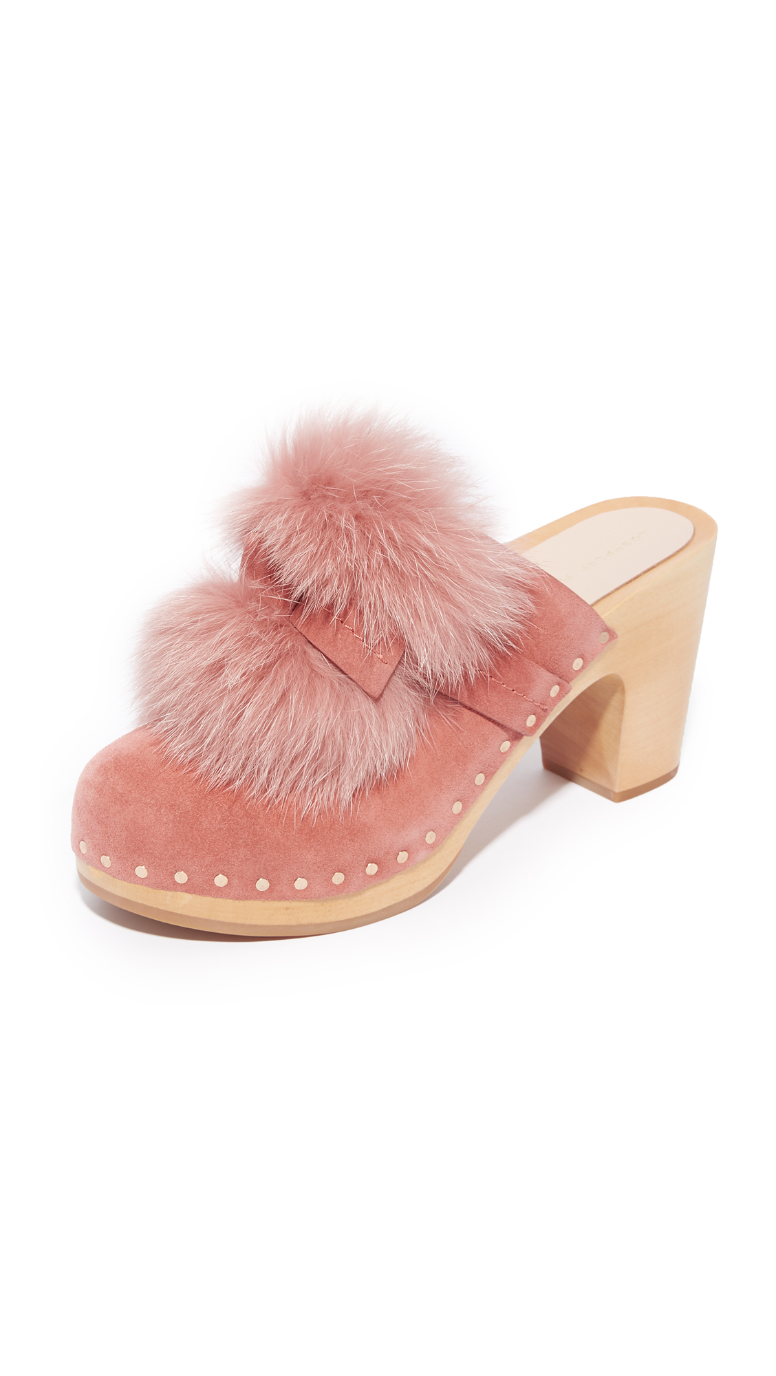 Loeffler Randall Phillips Platform Fur Clog Mules - Dusty Rose/Dusty Rose
